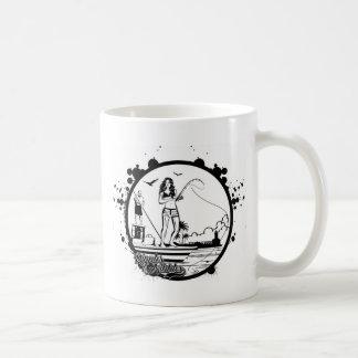 Caneca De Café Ondinhas & mordidelas que pescam o logotipo do