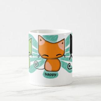 Caneca De Café os gatinhos de happy.happy.meh com aqua florescem