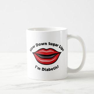 Caneca De Café Os lábios do açúcar do Slow Down, eu sou diabético