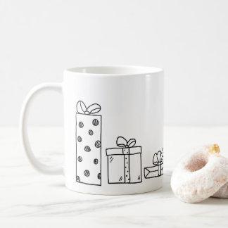 Caneca De Café Os presentes de Natal doodle o Natal do presente |
