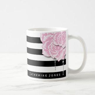 Caneca De Café Os rosas e as listras cor-de-rosa personalizaram a