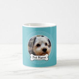 Caneca De Café Osso de cão e quadro azul da foto do animal de