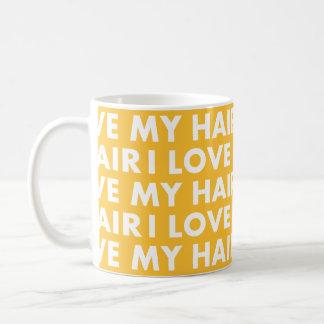 Caneca De Café Ouro amarelo eu amo meu entalhe do cabelo