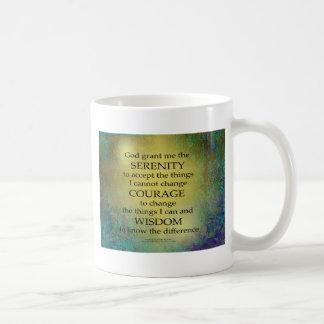 Caneca De Café Ouro da oração da serenidade em azul esverdeado