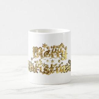 Caneca De Café Ouro decorativo da tipografia das estrelas do