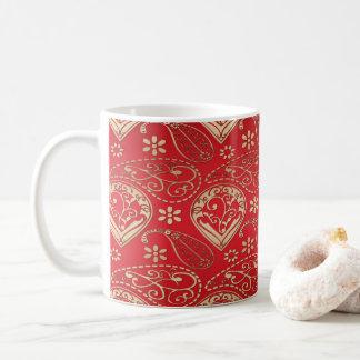 Caneca De Café Ouro vermelho e pálido Paisley