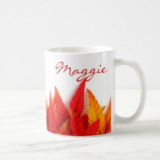Caneca De Café Outono, folhas da queda. alaranjado, vermelho,
