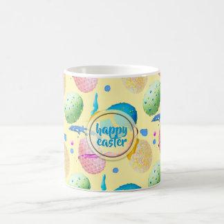 Caneca De Café Ovos da páscoa e respingo coloridos da pintura