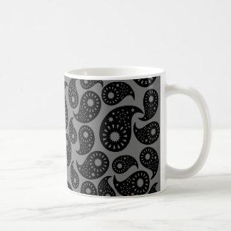 Caneca De Café Paisley. cinzento e preto