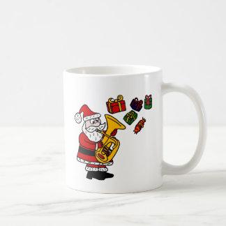 Caneca De Café Papai Noel engraçado que joga a arte do Natal da