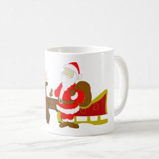 Caneca De Café Papai Noel no trenó do Natal