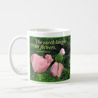 """Caneca De Café Papoilas & íris """"que a terra ri nas flores. """""""