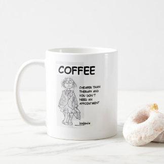 Caneca de café para a mulher de funcionamento
