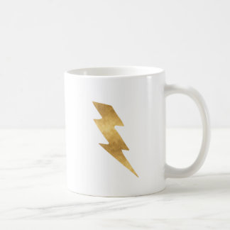 Caneca De Café Parafuso de relâmpago no ouro metálico