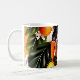 Caneca De Café Paraíso tropical. Toucans e citrino