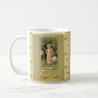 Caneca De Café Páscoa dos corações do ouro do cordeiro de Jesus