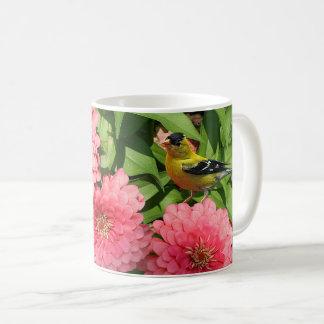 Caneca De Café Passarinho e flores amarelos -