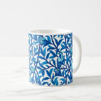 Caneca De Café Pássaro de Nouveau da arte e romã, azul cobalto