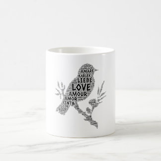 Caneca De Café Pássaro ilustrado com palavra do amor
