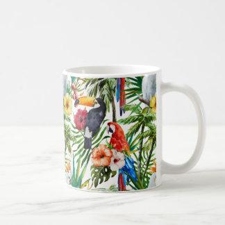 Caneca De Café Pássaros da aguarela e teste padrão tropicais da
