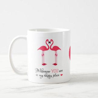 Caneca De Café Pássaros felizes Famingos cor-de-rosa do amor do