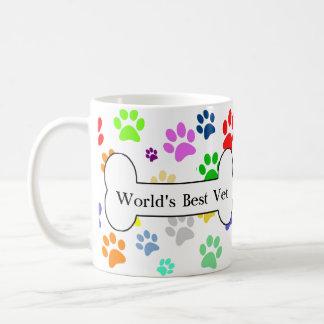 Caneca De Café patas coloridas do animal de estimação do melhor