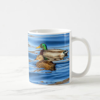 Caneca De Café Patos na água azul