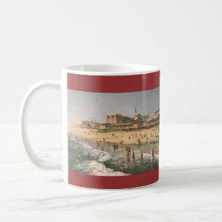 """Caneca De Café Paul McGehee do """"panorama da cidade oceano - 1915"""""""