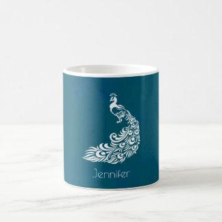 Caneca De Café Pavão branco no na moda chique da cerceta