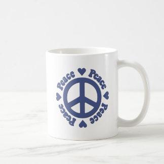 Caneca De Café Paz e amor azuis