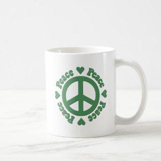 Caneca De Café Paz e amor verdes