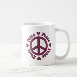 Caneca De Café Paz e amor vermelhos desvanecidos