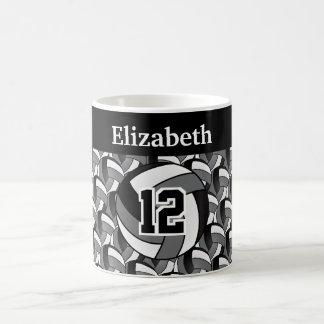 Caneca De Café Personalize cinzas, voleibol preto e branco