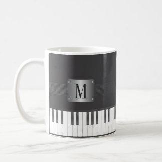 Caneca De Café Piano preto e branco do monograma