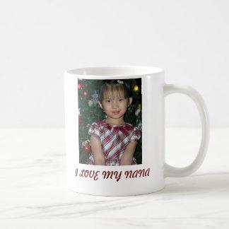 Caneca De Café PIC do Natal de Jing Jing, EU AMO MINHA NANA