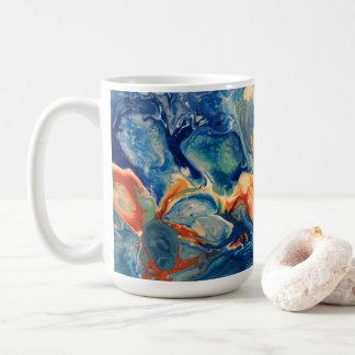 Caneca De Café Pintura azul do abstrato do acrílico do Fox da