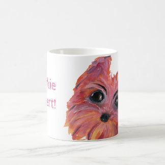 Caneca De Café Pintura bonito do cão de Yorkie no rosa e na