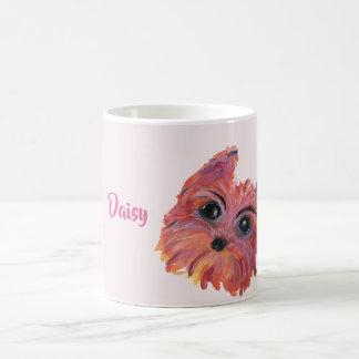 Caneca De Café Pintura bonito do pop art de Yorkie no rosa e na