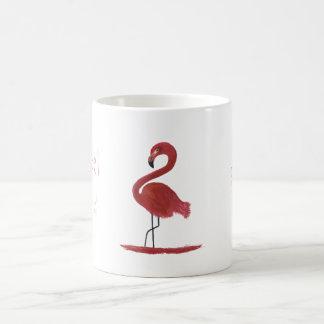Caneca De Café Pintura cor-de-rosa das belas artes do flamingo -