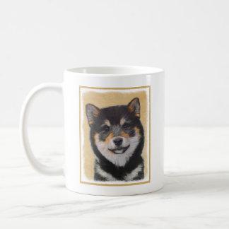 Caneca De Café Pintura de Shiba Inu (preto e Tan) - arte do cão