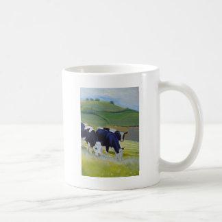 Caneca De Café Pintura de vacas preto e branco do frisão do