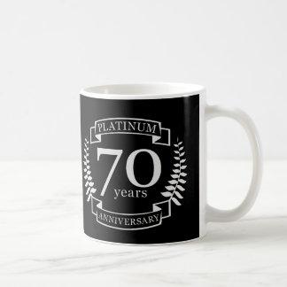 Caneca De Café PLATINA do ANIVERSÁRIO de casamento do 70