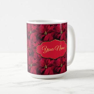 Caneca De Café Poinsétias vermelhas