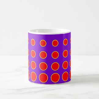 Caneca De Café Ponto colorido roxo & vermelho do abstrato do