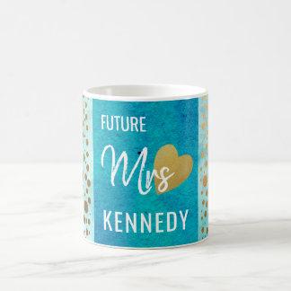 Caneca De Café Pontos futuros da Sra. Azul Aguarela Ouro Confete