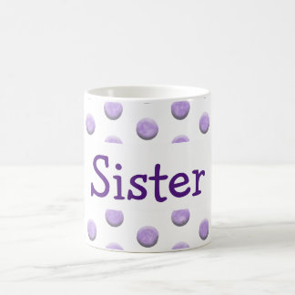 Caneca De Café Pontos roxos da aguarela da irmã com texto