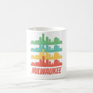 Caneca De Café Pop art retro da skyline dos WI de Milwaukee