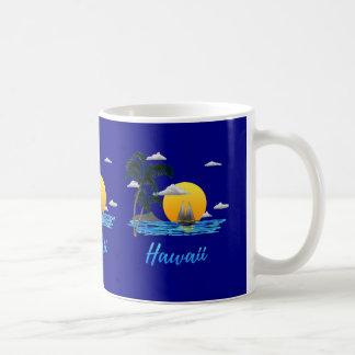 Caneca De Café Por do sol da praia de Havaí