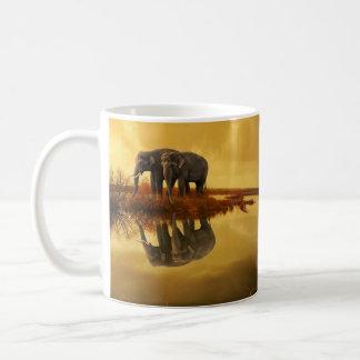 Caneca De Café Por do sol dos elefantes