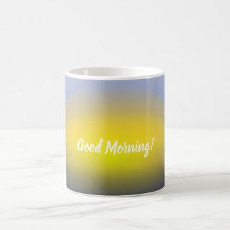 Caneca De Café Por do sol no impressão da água com azuis &